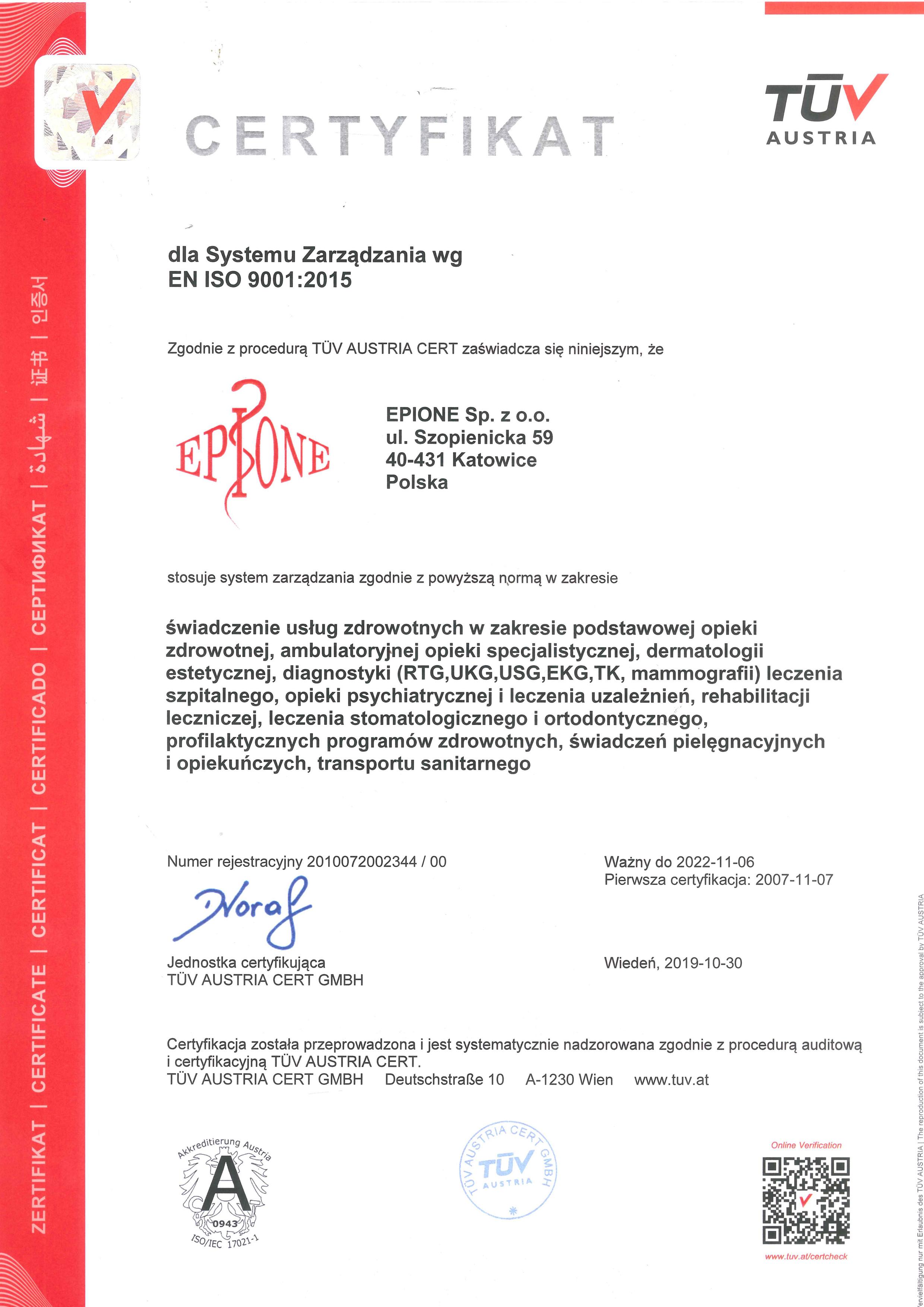 Certyfikat - Przychodnia Katowice